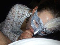 Amateur masked swinger milf having sex