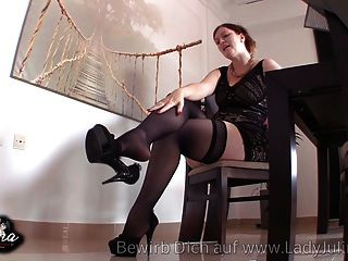 Adorable granny toying in fully fashioned stockings tmb