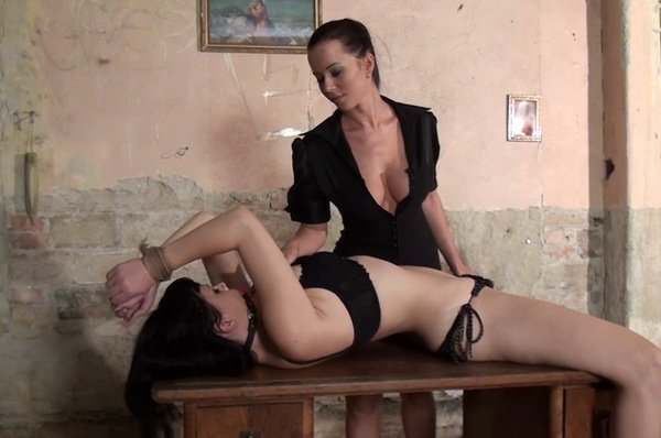 Hot brunette brea teased lesbian and than make guy cum with titfuck tmb