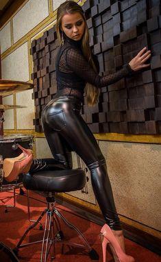 Amazing wetlook leather spandex
