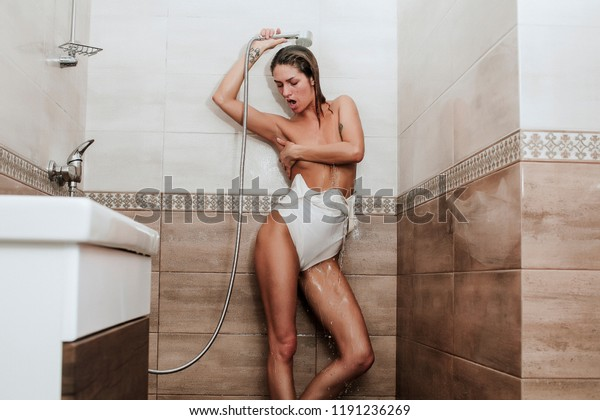 Sexy babe in shower