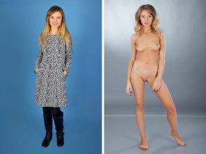 Blonde girl dressed undressed