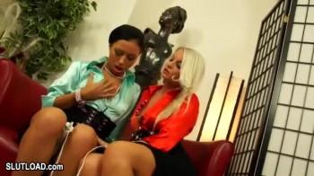 Euro lesbian threesome use hitachi magic wand xxxbunker