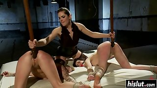Lovely girl gets tied up and hard fucked kinky guy
